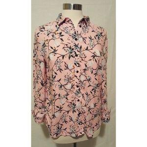 Topshop Button Shirt Pink Floral Long Sleeve Sze 6